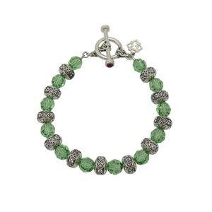 Sterling Silver Peridot Crystal Bead Bracelet
